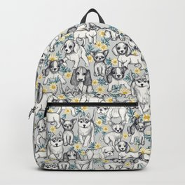 Dogs and Daisies on Grey Backpack