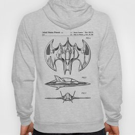 Batwing Patent - Bat Wing Art - Black And White Hoody
