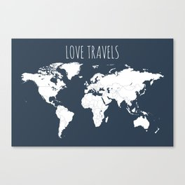Love Travels World Map in Navy Blue Canvas Print