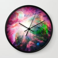 nebula Wall Clocks featuring Orion NebuLA Colorful Purple by 2sweet4words Designs