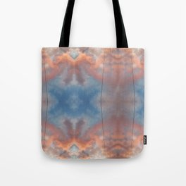 Cloudy sky at sunset reflections Tote Bag