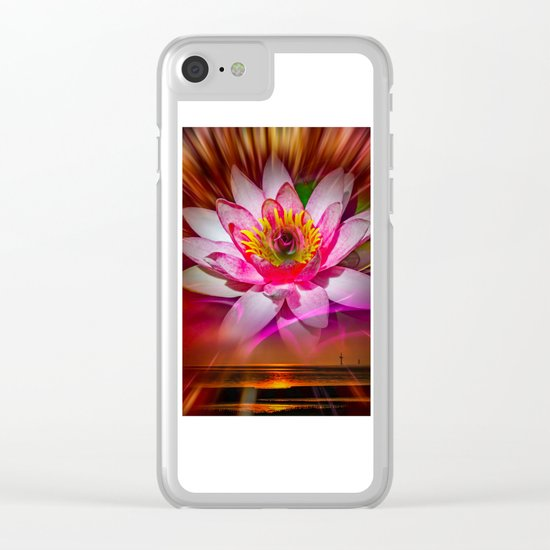 Wellness Water Lily Rose  6 Clear iPhone Case