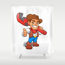 plumber cowboy Shower Curtain