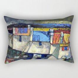coastal Village,Ireland(acrylic on canvass). Rectangular Pillow