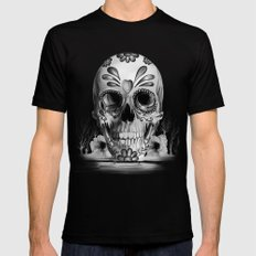 Pulled sugar, day of the dead skull MEDIUM Black Mens Fitted Tee