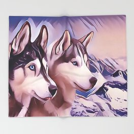 A Pair of Siberian Huskys Throw Blanket