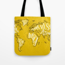 Worldmap vintage yellow Tote Bag