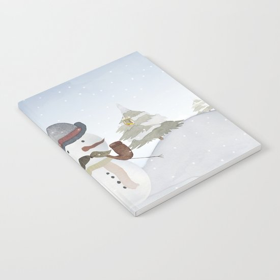 Winter Wonderland- Funny Snowman and friends - Watercolor illustration III Notebook