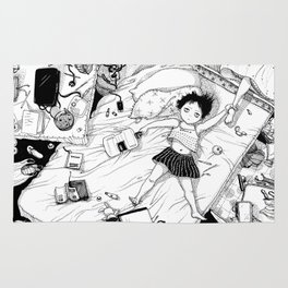 Monochrome Surrealistic Illustration:Hold Your Ankle in My Messy Bedroom Rug