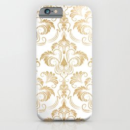 Gold foil swirls damask 17 iPhone Case