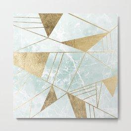 Modern blush green faux gold marble triangles stripes Metal Print
