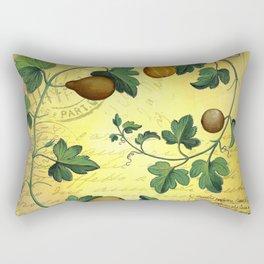 Vintage Botanical Collage, Autumn Pumpkins Rectangular Pillow