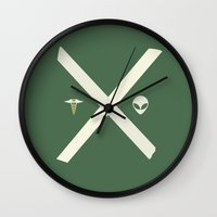 scully Wall Clocks featuring Mulder and Scully (green) by avoid peril