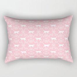 Cat florals floral silhouette pet portrait cat art cat lady pink and white Rectangular Pillow