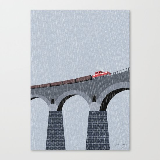 Bridge in the rain Canvas Print