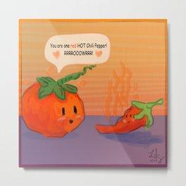 Tomato Hearts Pepper Metal Print
