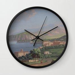SORRENTO General View Bay of Naples Italia Italy Print Painting Napoli Landscape Home Decor Wall Wall Clock
