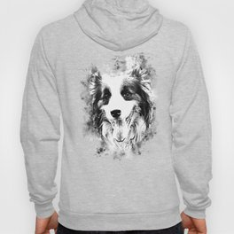 border collie shepherd dog splatter watercolor white Hoody