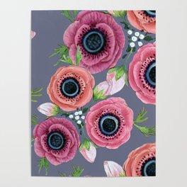 Anemone flower , botanical floral, Eternal Flower Girl Poster