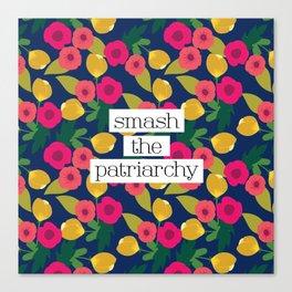 Smash the Patriarchy Floral Canvas Print