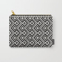 B&W Boho Moroccan Geomitrec Farmhouse Rustic Style Design Carry-All Pouch