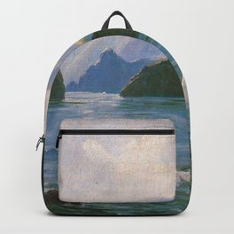 Under the Cliffs of Molokai, Hawaiian landscape painting by D. Howard Hitchcock Backpack