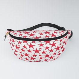 Red stars on white background illustration Fanny Pack
