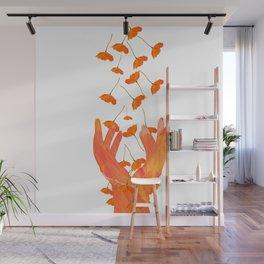 Wonderful Poppy Flowers Orange Coral Color White Background #decor #sociey6 #buyart Wall Mural