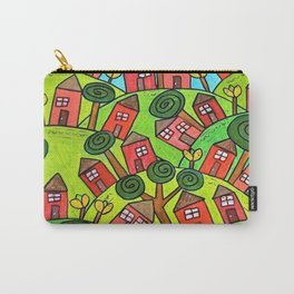 Ticky Tacky Red Row Houses on the Hill whimsical folk art landscape Carry-All Pouch
