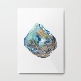 Opal October Birthstone Watercolor Illustration Metal Print