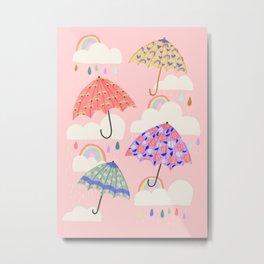 Rainy Day on Pink Metal Print
