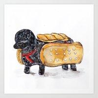 hot dog Art Prints featuring Hot Dog by Mandarin Duck Craft