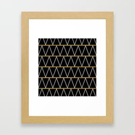 Black and gold zigzag Framed Art Print