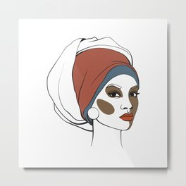 African American woman in headscarf with makeup. Abstract face. Fashion illustration Metal Print