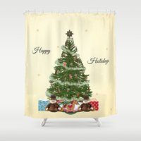 christmas tree Shower Curtains featuring Christmas Tree by haroulita
