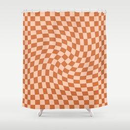 Check IV - Orange Twist — Checkerboard Print Shower Curtain