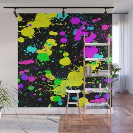 Neon Paint Splatter Wall Mural