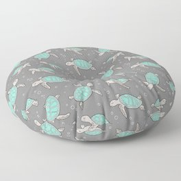 Sea Turtles on Grey Floor Pillow