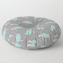 Sea Turtles on Grey Floor Pillow