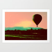 hot air balloon Art Prints featuring Hot Air Balloon by Derek Fleener
