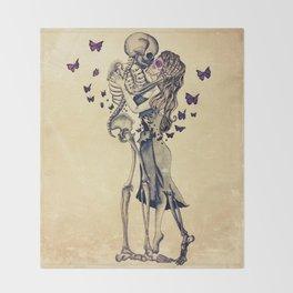 Always Kiss Goodnight Skeletons Throw Blanket