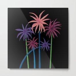 Neon Palms on Black Metal Print
