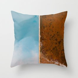 Abstract blue and orange Lake from above – Landscape Photography Throw Pillow