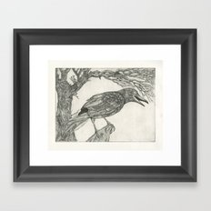 crow etching Framed Art Print