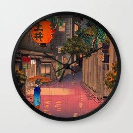 Tsuchiya Koitsu - Evening at Ushigome - Japanese Vintage Woodblock Painting Wall Clock