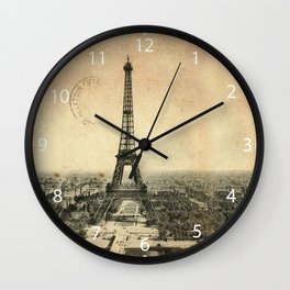 Rare vintage postcard with Eiffel Tower in Paris Wall Clock