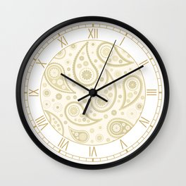 Paisley Funky Design Gold & Cream Wall Clock