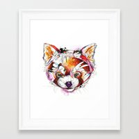 red panda Framed Art Prints featuring Red Panda  by Abby Diamond