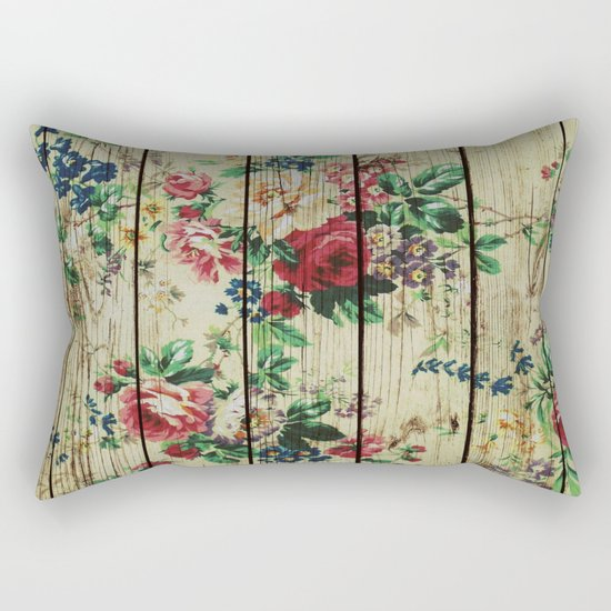 Flowers on Wood 01 Rectangular Pillow