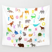 alphabet Wall Tapestries featuring Animal Alphabet by Sian Keegan